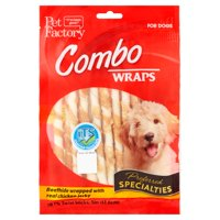 """Pet Factory Combo Wraps Beefhide Wrapped with Real Chicken Jerky Dog Chews, 5"""" (18 Count)"""