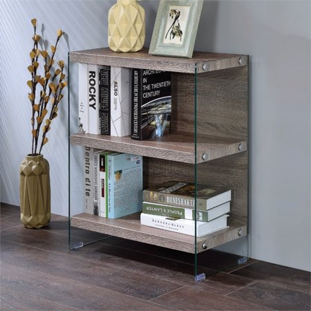- Bowery Hill 2 Shelf Bookcase in Clear Glass and Gray Oak