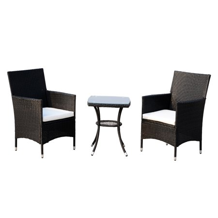 Outsunny 3 Piece Bistro Table Chair Set Patio Outdoor Rattan Cushioned ()