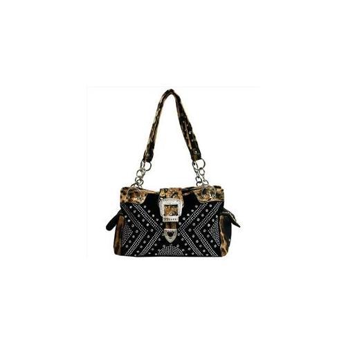 Ritz Enterprises BT9377-LP-BK Womens Rhinestone Buckle Front Shoulder Bag, Black