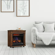 Rolling Mantel with 3D Infrared Quartz Electric Fireplace