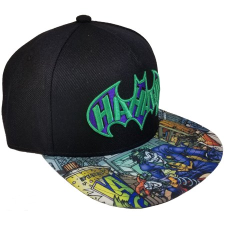 Men's Joker Embroidered Flat Bill Hat with Screenprinted Bill