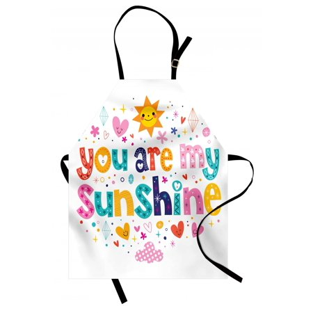 Quote Apron Cute Love Text Print Made by Fun Happy Animal and Heart Figures Kids Nursery Theme, Unisex Kitchen Bib Apron with Adjustable Neck for Cooking Baking Gardening, Multicolor, by Ambesonne - Kitchen Themes