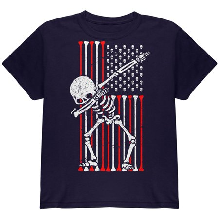 4th of July Dabbing Skeleton American Flag Skulls Youth T Shirt](Kids Back To School Clothes)