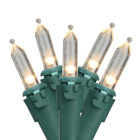 35 Warm White LED Mini Christmas Lights - 11.25 ft Green