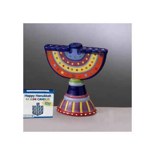"4.25"" Hand-Painted Colorful Ceramic Mini Chanukah Hanukkah Menorah with Candles"