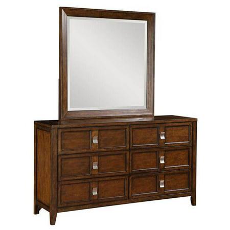 dresser with mirror in medium brown. Black Bedroom Furniture Sets. Home Design Ideas