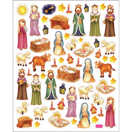 Tattoo King SK129MC-4184 Multicolor Stickers - Nativity Scene - Nativity Stickers