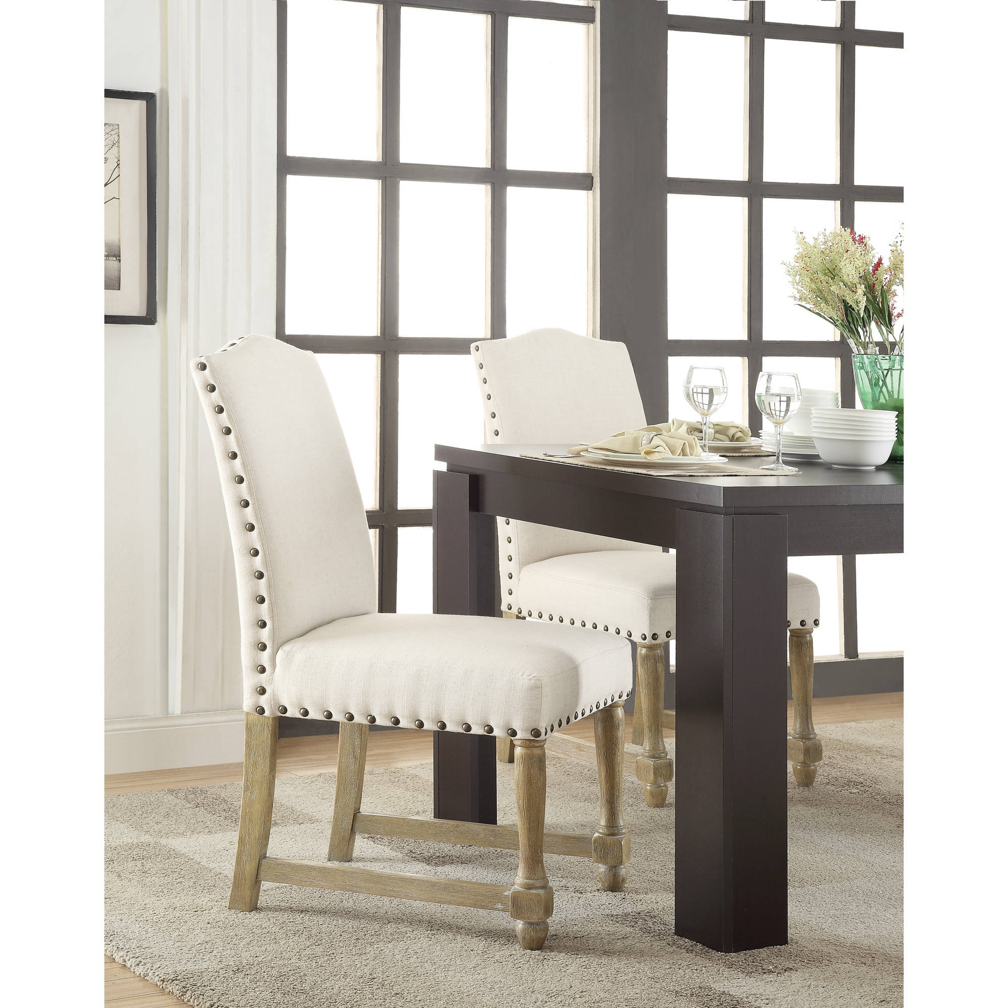Kingman Dining Chair In Elite Espresso Bonded Leather With Nailhead Trim And Solid Wood Legs Com
