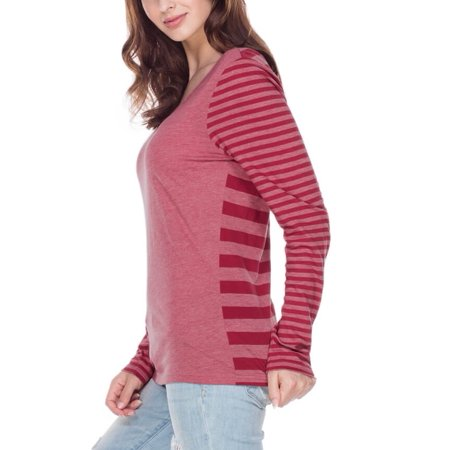 Kavio! Women Striped Jersey Multi Contrast Long Sleeve Striped Heather/Cardinal L