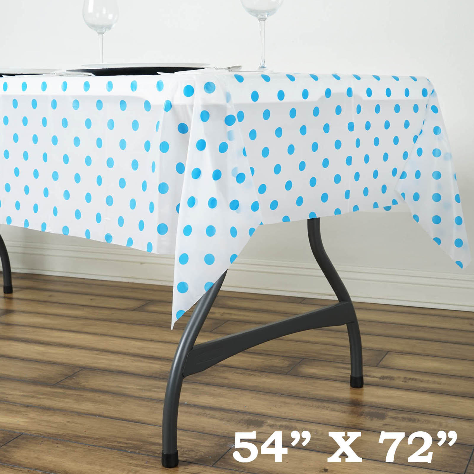 Efavormart 10 Pcs Perky Polka Dots Rectangle  Disposable Plastic Table Cover for Kitchen Dining Catering Wedding Birthday Party