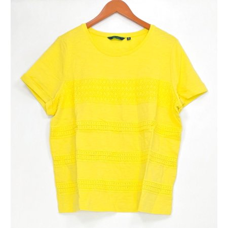 C. Wonder Women's Top Sz L Short Sleeve Slub Knit Tee w/ Lace Yellow A278457