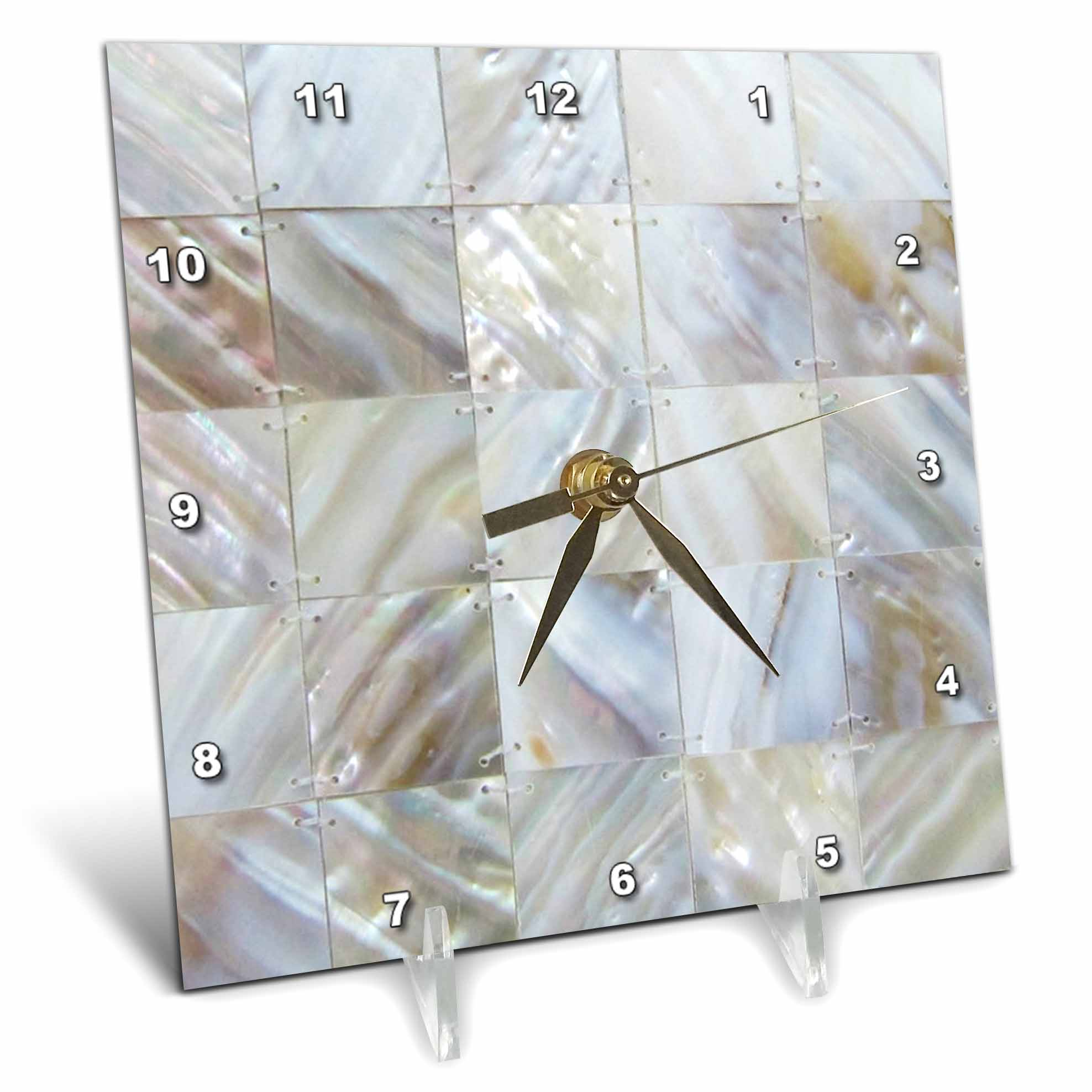 3dRose Picturing Mother Of Pearl, Desk Clock, 6 by 6-inch by 3dRose