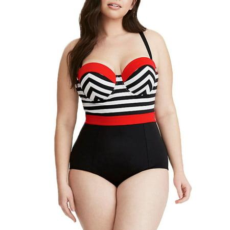 Plus Size Womens Strappy Padded Bikini Swimwear Swimsuit Monokini Bathing Suit