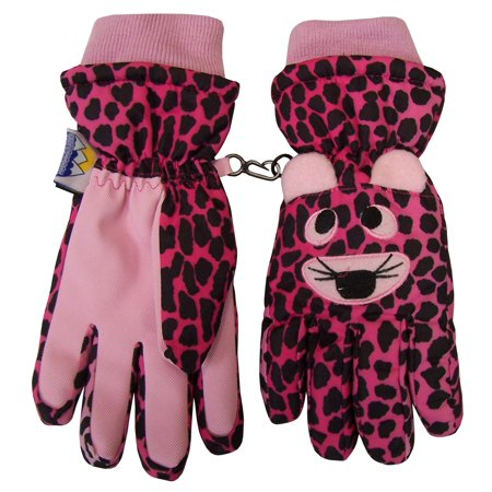 NICE CAPS Girls Waterproof and Thinsulate Insulated Cute Tiger Face Ski Snow Winter Gloves - Fits Kids Toddler Childrens Youth Child Sizes For Cold Weather ()