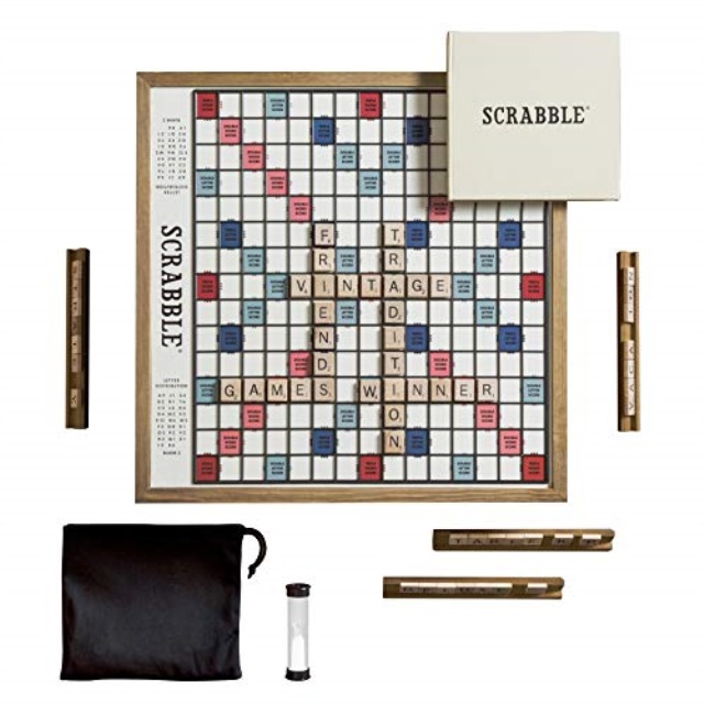 Scrabble Deluxe Vintage Edition with Rotating Game Board by