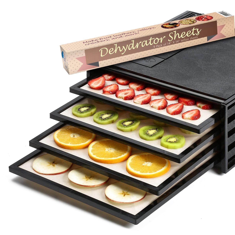 "Food Dehydrator Sheets For Set of 9 Premium 14/"" X 14/"" Non-stick Teflon"