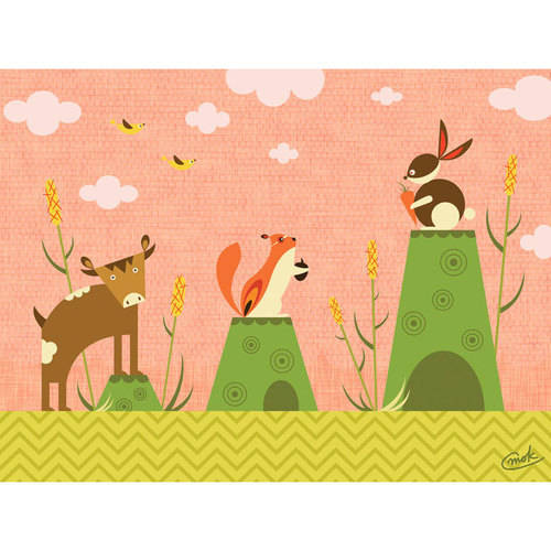 Oopsy Daisy - Cattails and Critters - Coral Canvas Wall Art 24x18, Carmen Mok
