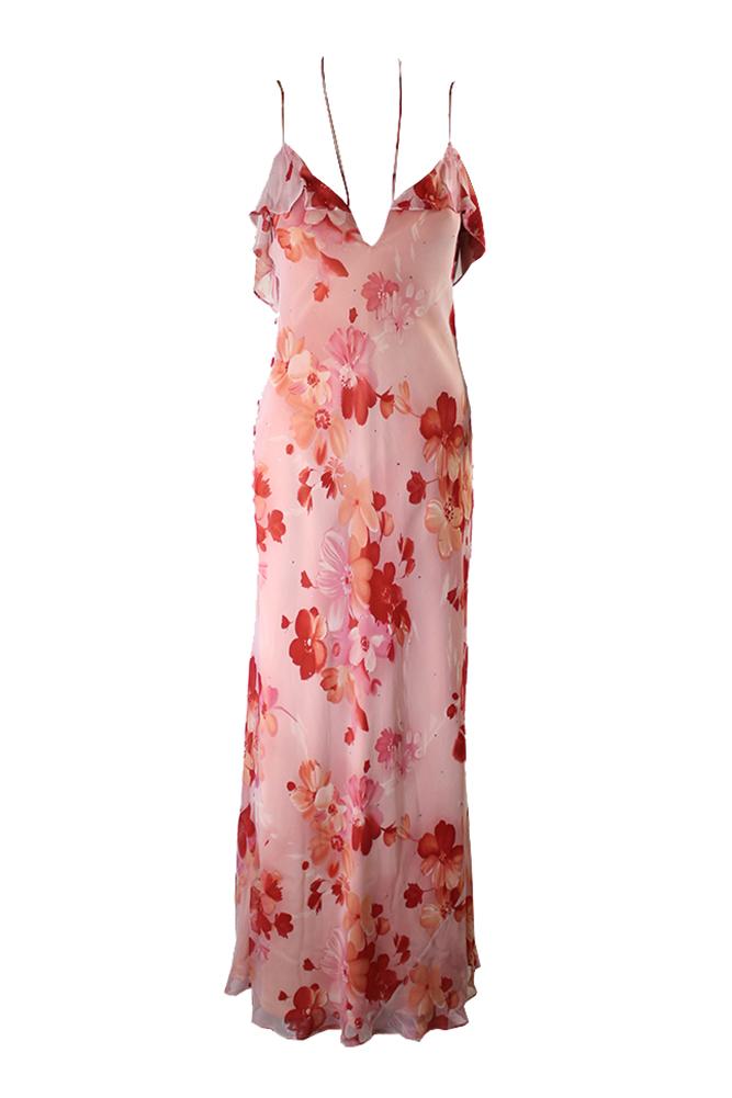 Laundry Bu Shelli Sega Pink Multi Slit Neck Floral Maxi Dress 4 by