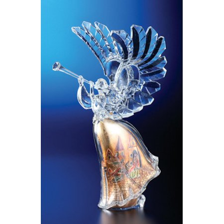 Religious Crystal - Pack of 2 Icy Crystal Religious Christmas Gold Scene Angel Figures 14.8