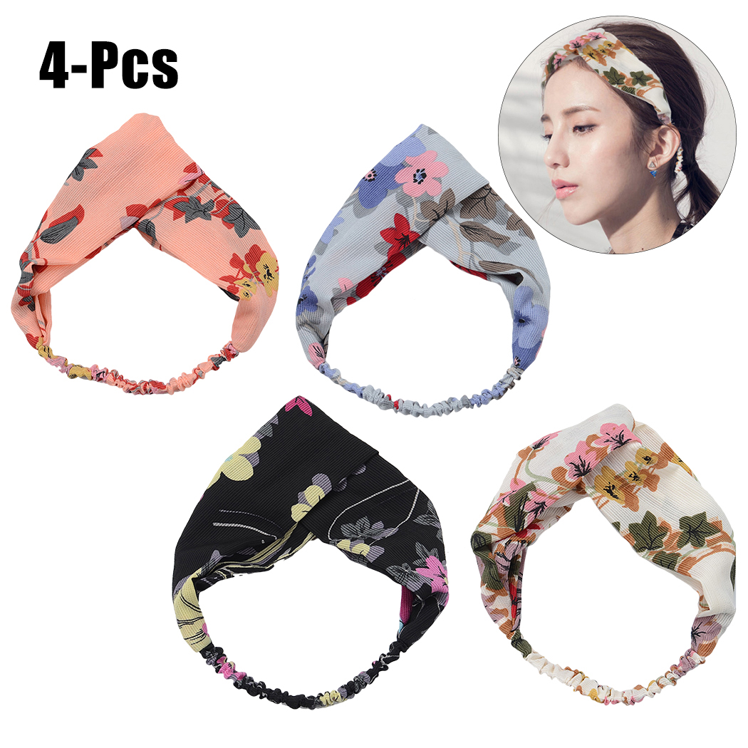 4PCS Women's Headband Fashion Elastic Cross Flower Pattern Turban Headband Head Wrap Hair Band Hair Accessories for Women Girls