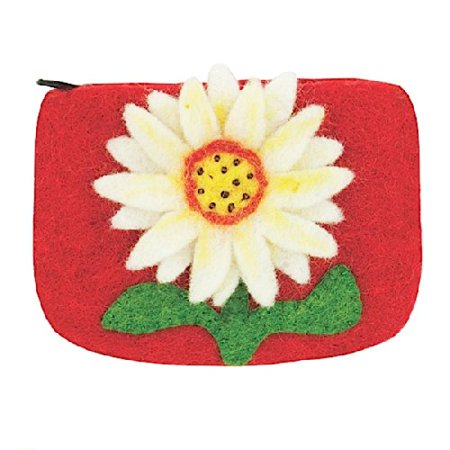 Dzi Felted Coin Purse - Sunflower Coin Purse Credit Card Holder (Felting Purse)