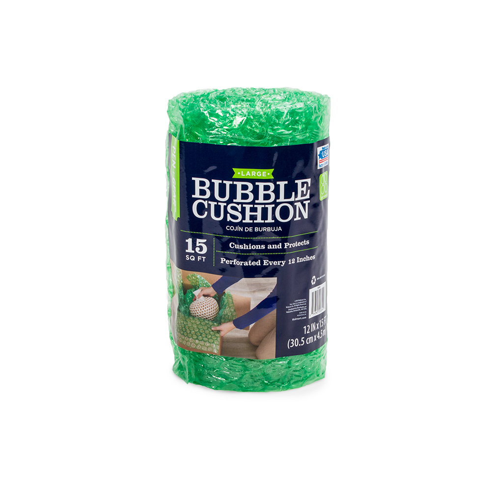 Pen+Gear 12 inches x 15 feet Bubble Cushion, Green, 5/16 Large Bubbles