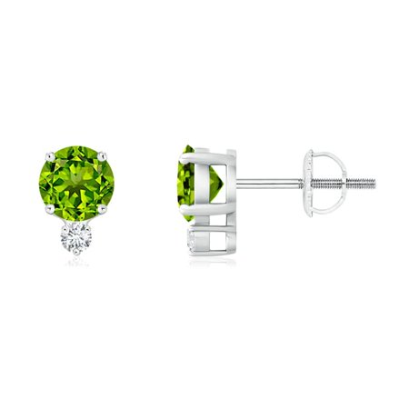 August Birthstone Earrings 1 Carats Round Brilliant Peridot Stud With Diamond Accent In 14k White Gold Se0133pd Wg Aaaa 5