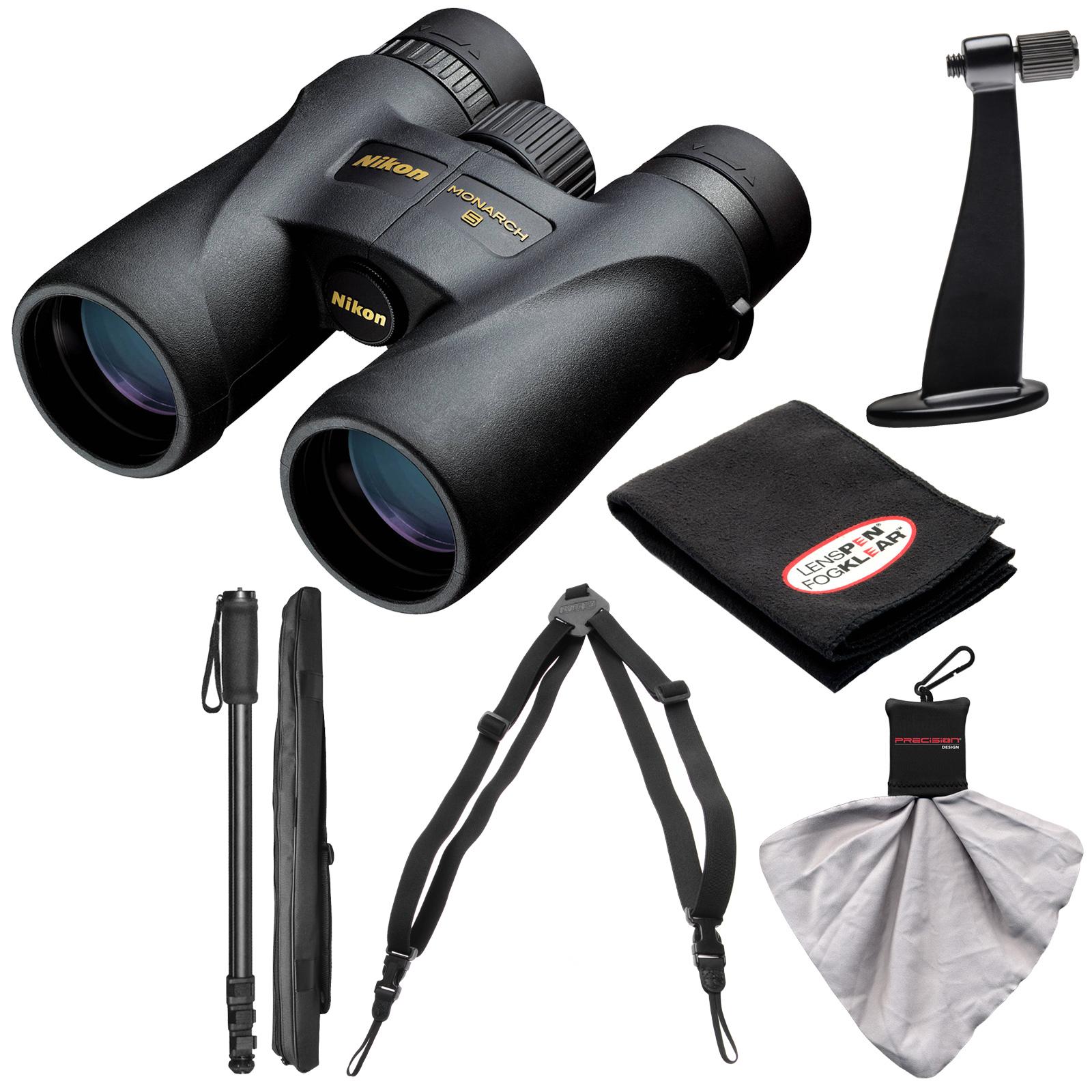 Nikon Monarch 5 10x42 ED ATB Waterproof/Fogproof Binoculars with Case + Harness + Tripod Adapter & Monopod + Kit