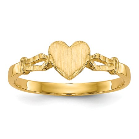 - 14k Yellow Gold Childrens Heart Band Ring Size 3.00 Baby