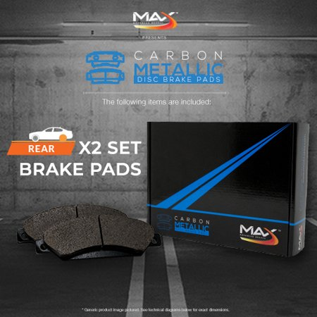 Max Brakes Rear Carbon Metallic Performance Disc Brake Pads TA158352 | Fits: 1990 90 1991 91 1992 92 Mitsubishi Eclipse - image 2 de 6