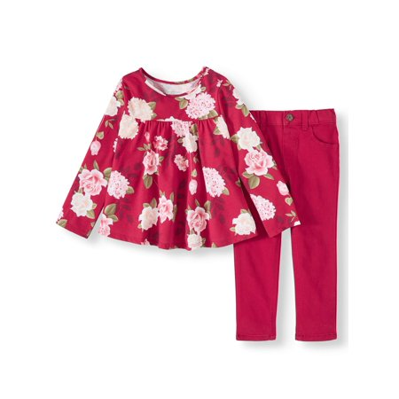 Garanimals Print Swing Top & Twill Pants, 2pc Outfit Set (Toddler