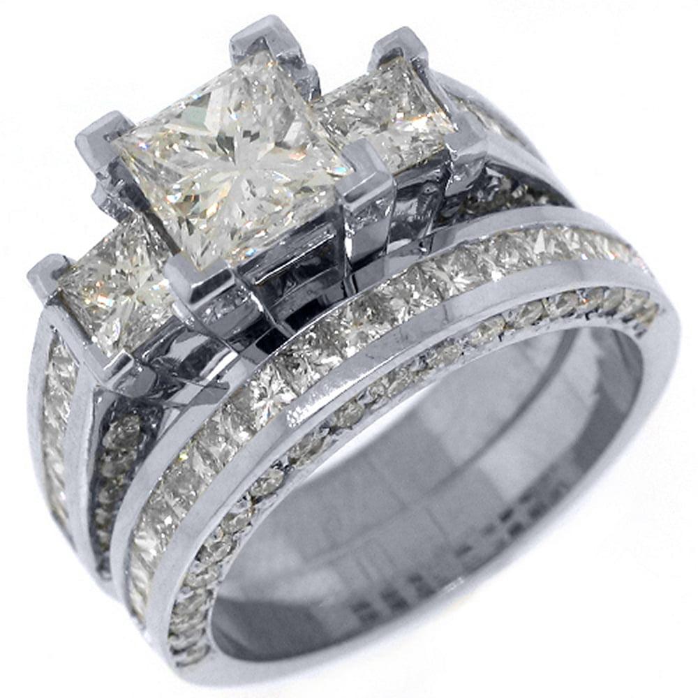 14k White Gold 4 Carats Princess 3-Stone Diamond Engageme...