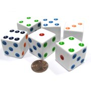 Koplow Games Set of 6 D6 25mm Large Opaque Jumbo Dice - White with Multicolor Pip #06233