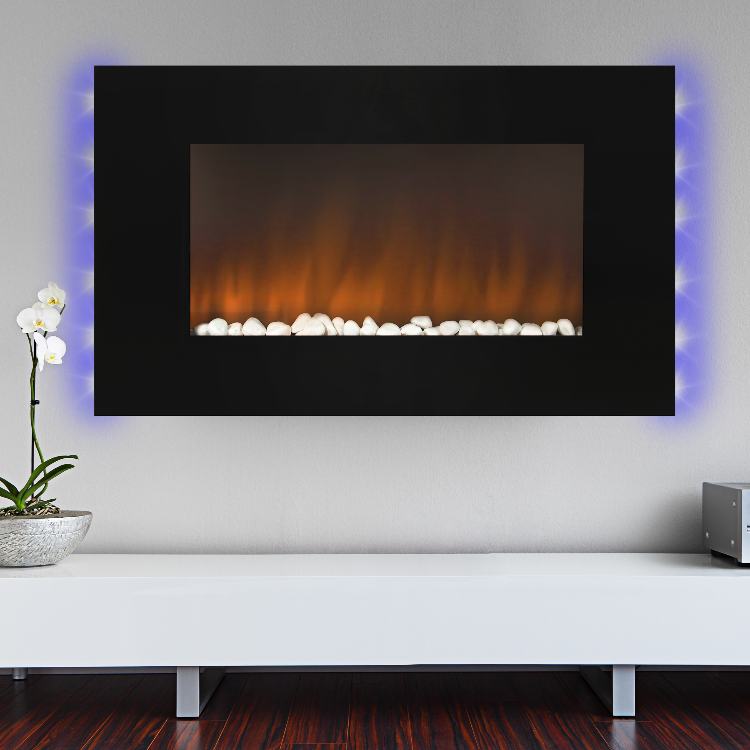 "Best Choice Products 1500W Heat Adjustable 36"" Wall Mount Electric Fireplace Heater Multi Color LED Backlight"