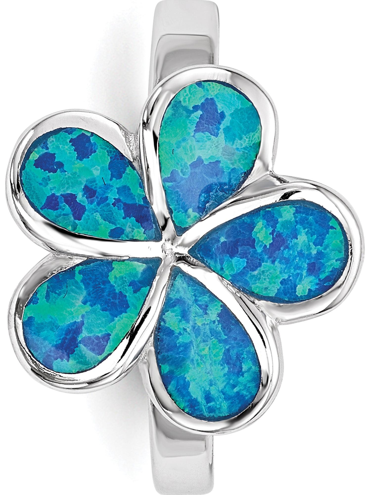 925 Sterling Silver Rhodium-plated Blue Created-opal Flower Dangle Earrings
