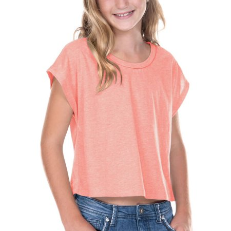 Kavio! Big Girls 7-16 Jersey Boxy Crop Tee Flamingo XL