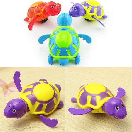 Left Wind Baby Bath Toy, Swimming Turtle, Floating Wind-up Bathtub Pool Toys Cute Water Play Sets for Kids Boys Girls ( Random Color)