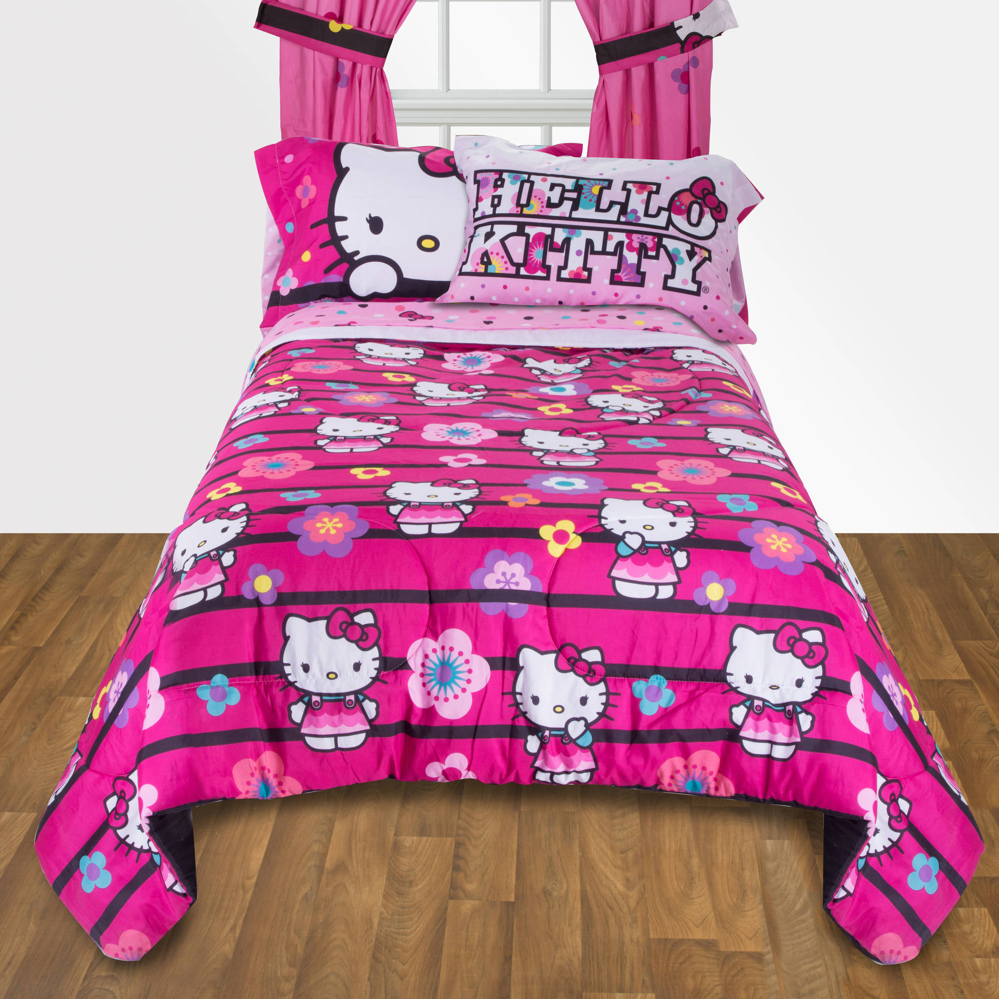 Hello kitty bed set walmart - Hello Kitty Floral Ombre Reversible Twin Full Bedding Comforter Walmart Com