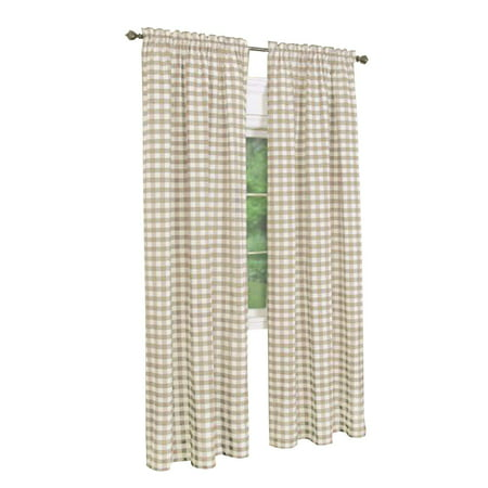 2 Pack: Country Chic Plaid Gingham Check Rod Pocket Window Curtain - Taupe, 84 in. Long ()
