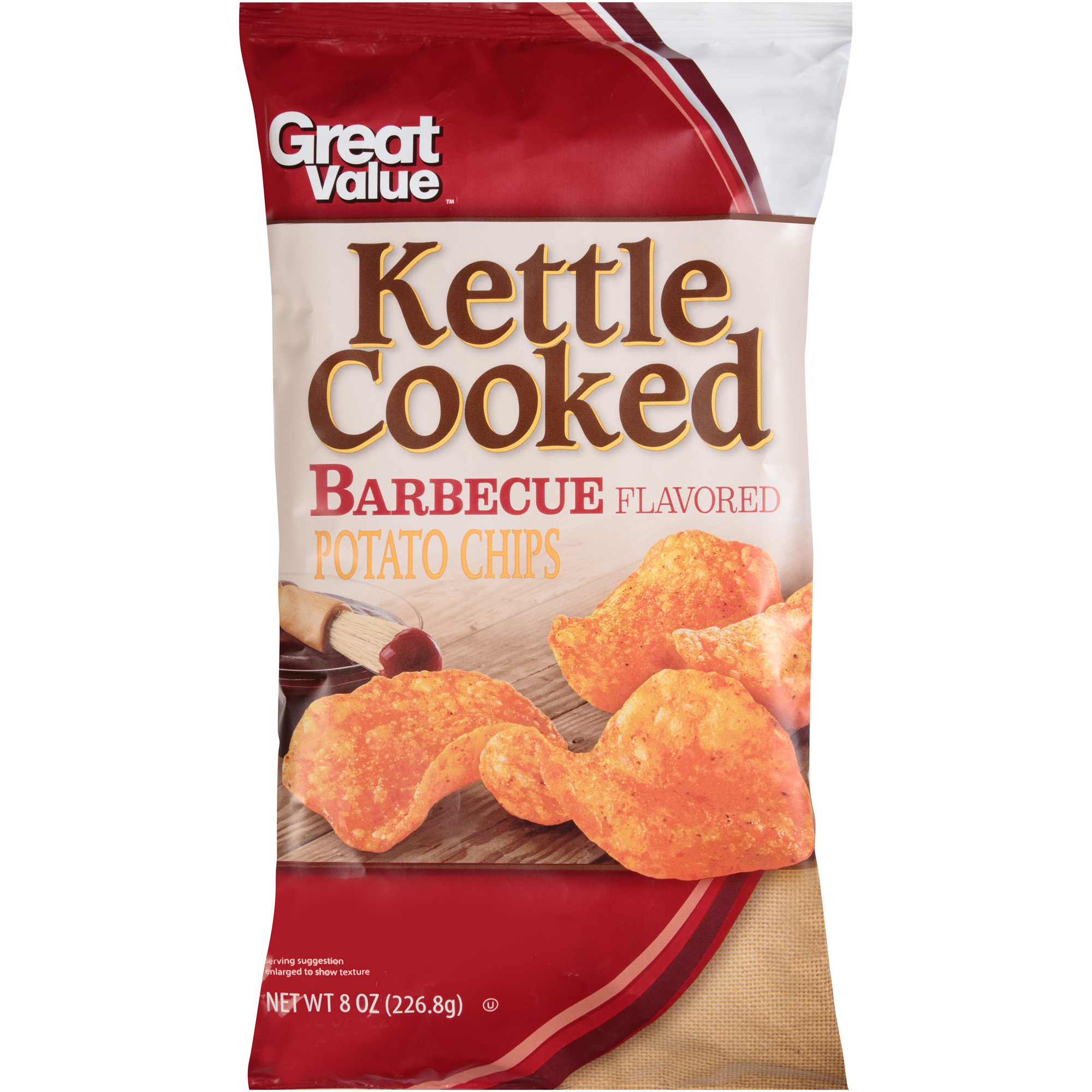 Great Value Kettle Cooked Barbecue Flavored Potato Chips, 8 oz