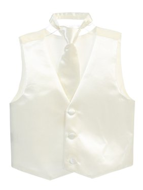 Boys Ivory Three Button Satin Vest Tie 2 Pc Set