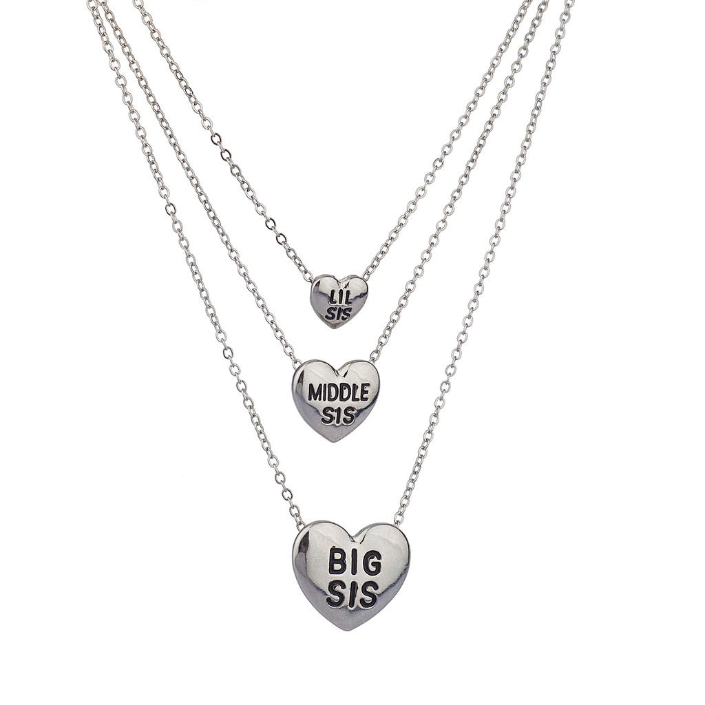 Lux Accessories Silvertone Three Sisters Heart Charm Necklace Set