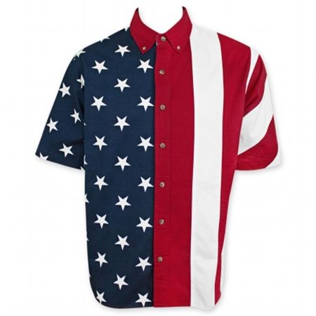 Patriotic 29342L American Flag USA Button Up Mens T-Shirt, Large