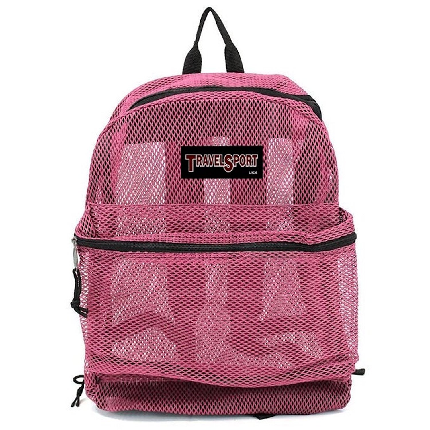 Travel Sport Transparent See Through Mesh Backpack/ School Bag Hot Pink