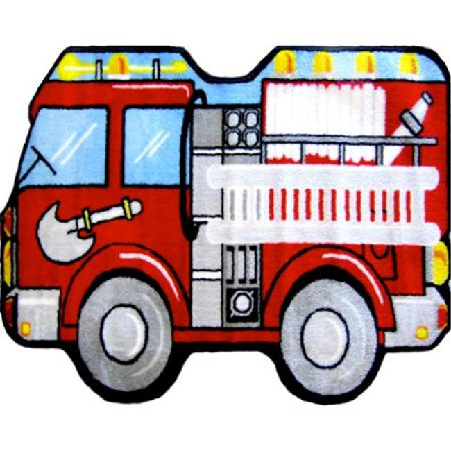 Fun Time Shape Fire Engine High Pile Rug - 31 x 47 Inch