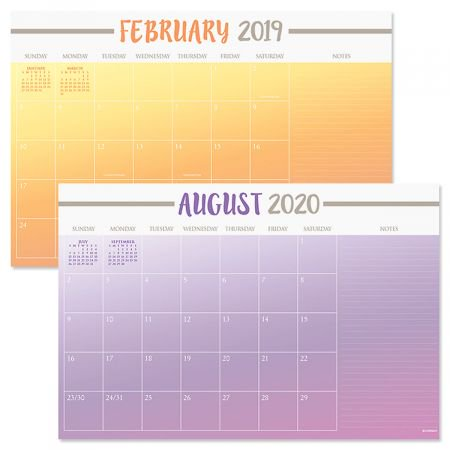 2019-2020 Color Block Calendar Pad- 24 Month Desk Pad Calendar With Magnet Strips to Hang on Fridge or File (Custom Desk Calendar)