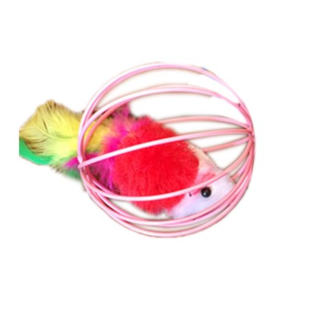 Pet Toys Hollow Ball Feather Mouse Toys Pet Playing Funny Pet Animals Mice Mouse Toys Random Color - image 2 of 8