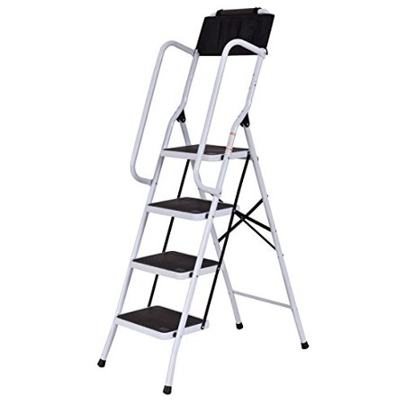 GHP Black & White Steel 300-Lbs Capacity 4-Step Non-Slip Ladder with Handrails (House Ladder)