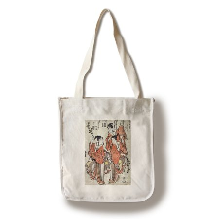 Third Month: Going to a Sumo Match; Fourth Month: Buddha's Birthday Japanese Wood-Cut Print (100% Cotton Tote Bag -